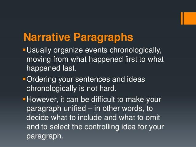 how to start a paragraph in a narrative