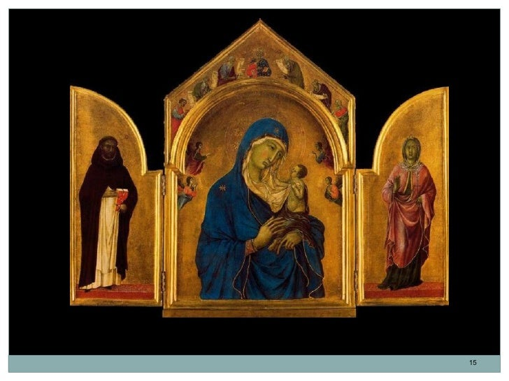 """Tríptico de Londres. """"Santo Domingo, Virgen con el Niño y cuatro ángeles y Santa Inés"""".Duccio di Buoninsegna. Temple sobre..."""