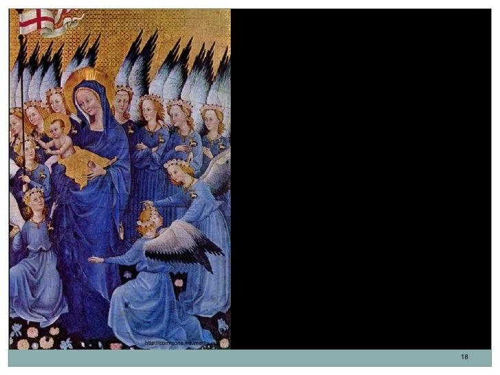 En el panel derecho se encuentra la Virgen                               María con el Niño en brazos rodeados por         ...