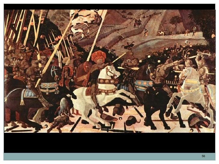 Batalla de San Romano. Niccolo da Tolentino a la cabeza de los florentinos. Paolo Uccello.                   Temple al hue...
