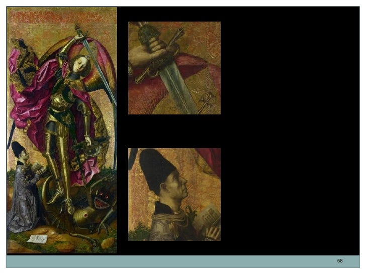 San Miguel triunfa sobre el diablo.           Bartolomé Bermejo. Óleo sobre           tabla. 179,7 x 81,9 cm. 1468.       ...