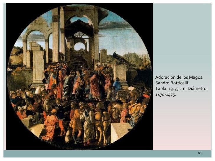 Adoración de los Magos.Sandro Botticelli.Tabla. 131,5 cm. Diámetro.1470-1475.                     63