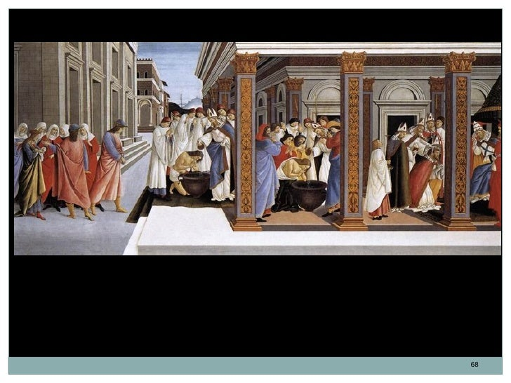 Bautismo de San Cenobio y su nombramiento como obispo. Sandro Botticelli. Témpera sobre panel.66,5 x 149,5 cm. 1500-1505.S...