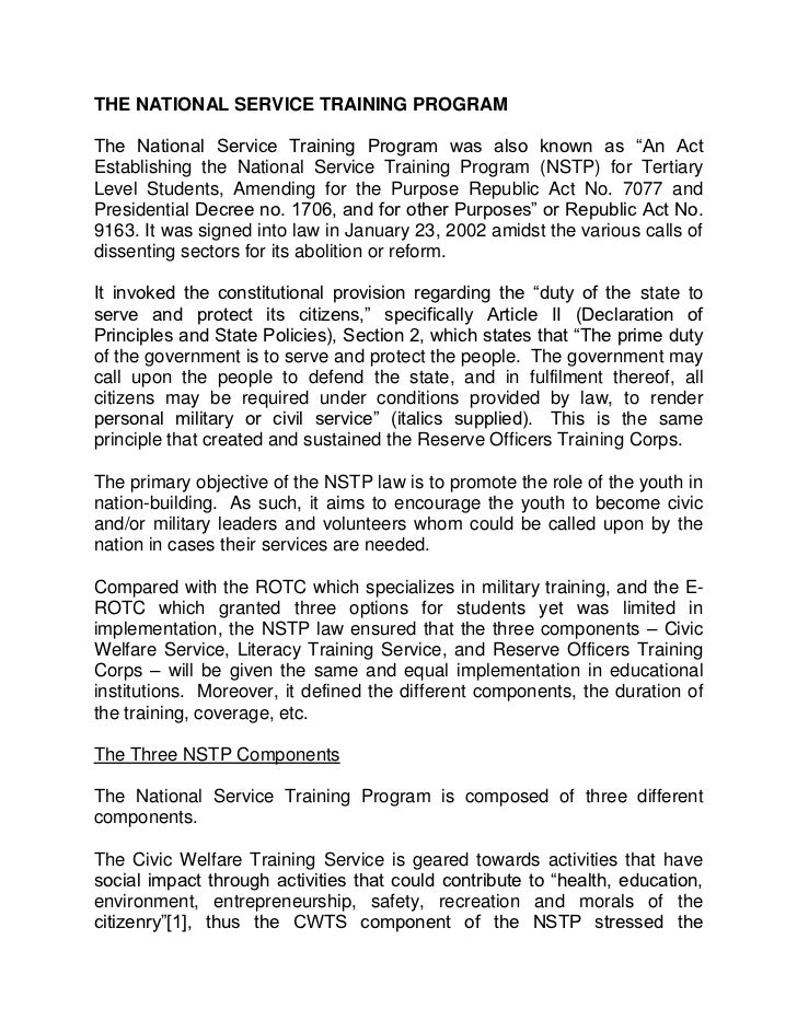 The national service training program