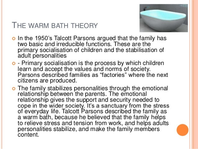 the role of the nuclear family in the modern society as described by talcott parsons Start studying chapter 8:gender  according to talcott parsons, the nuclear family is the ideal arrangement in modern society because it fulfills the function of.