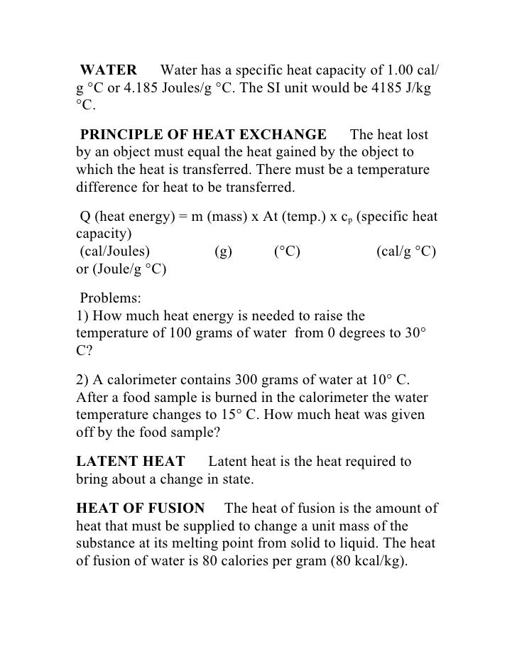 how to get the specific heat of an object