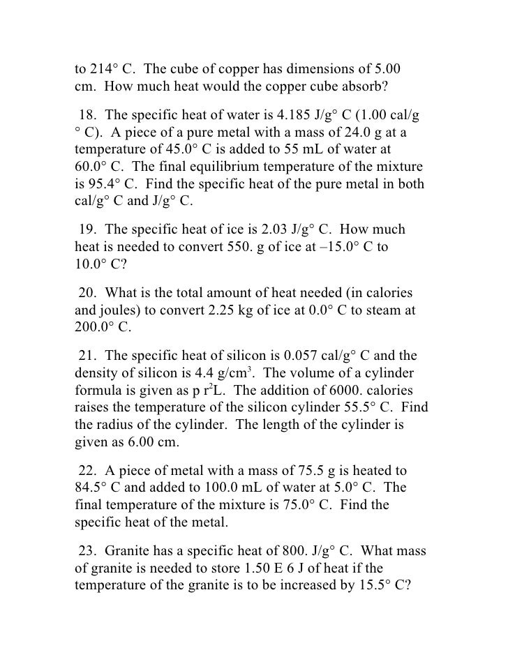 The nature of heat for Specific heat table j gc