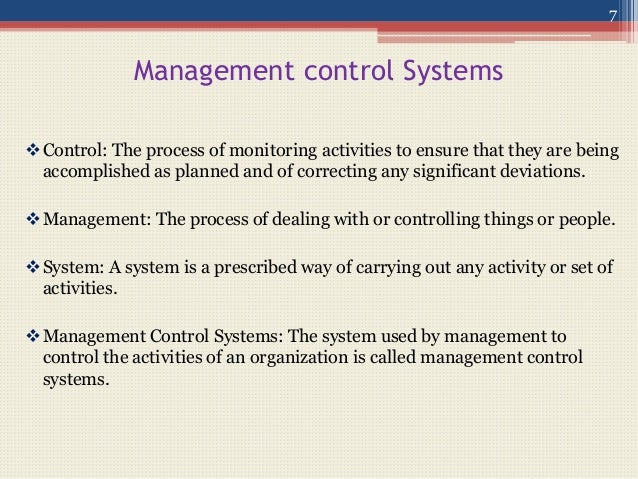 the nature of management control systems management