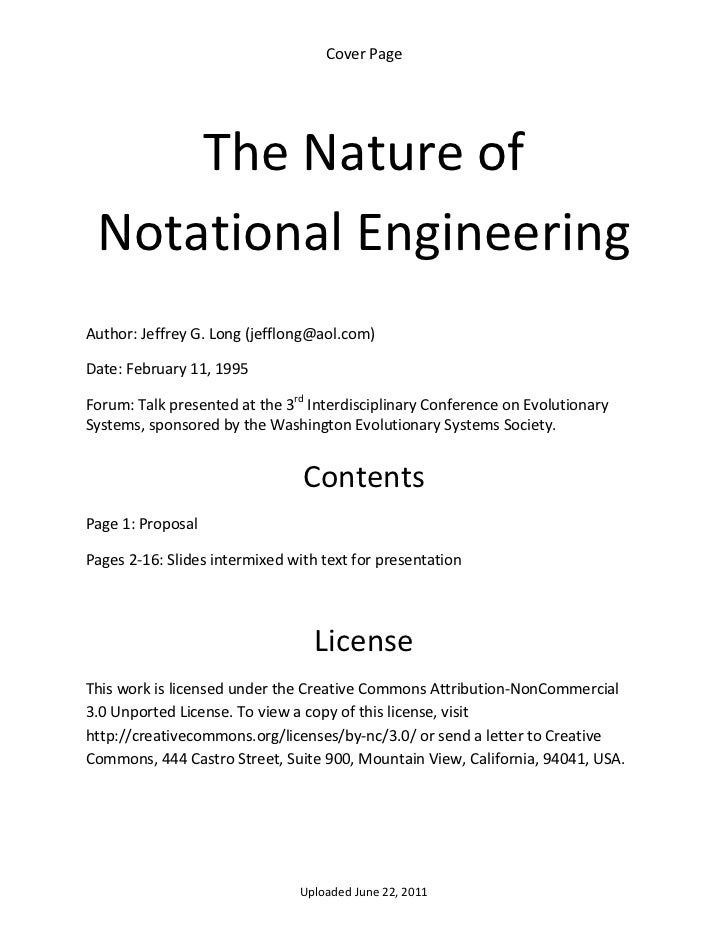Cover Page          The Nature of     Notational Engineering  Author: Jeffrey G. Long (jefflong@aol.com) Date: February 11...