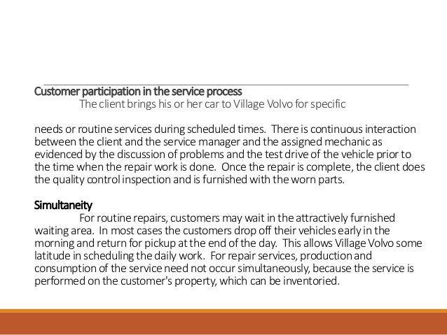 describe village volvos service package