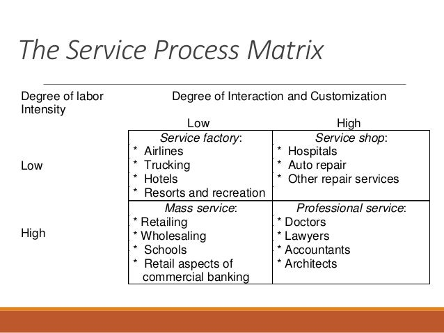 The nature of services for Service matrix template