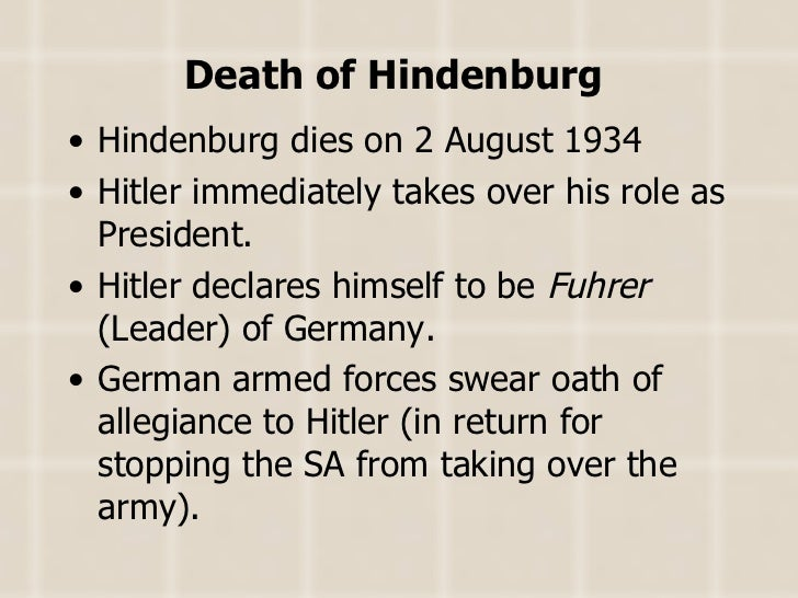 did hitler establish dictatorship germany august 1934 In 1934 hitler moved in to take supreme power of germany and was able to establish a dictatorship i agree that the main reason why hitler was able to do.