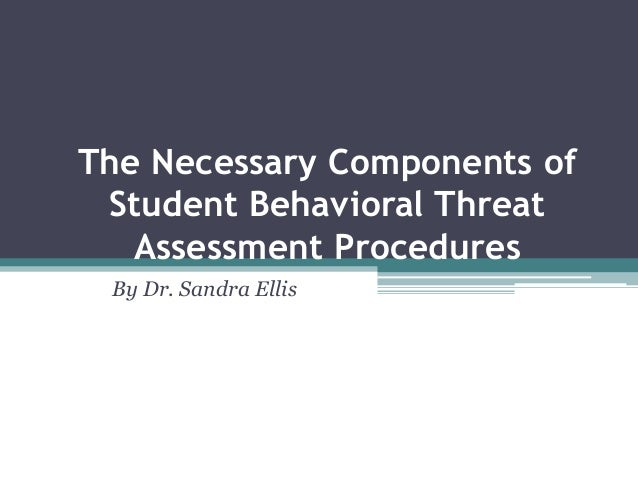The Necessary Components ofStudent Behavioral ThreatAssessment ProceduresBy Dr. Sandra Ellis