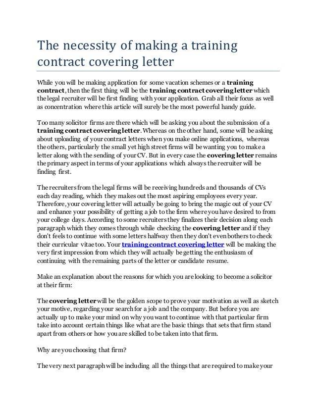 Covering Letter Training Contract