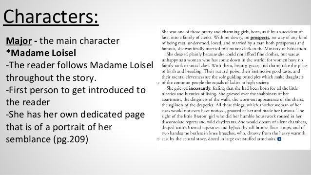 mathilde loisel personality Psychoanalytic approach to mathilde's character essay submitted  the story  revolves around two characters, mr and mrs loisel mathilde.