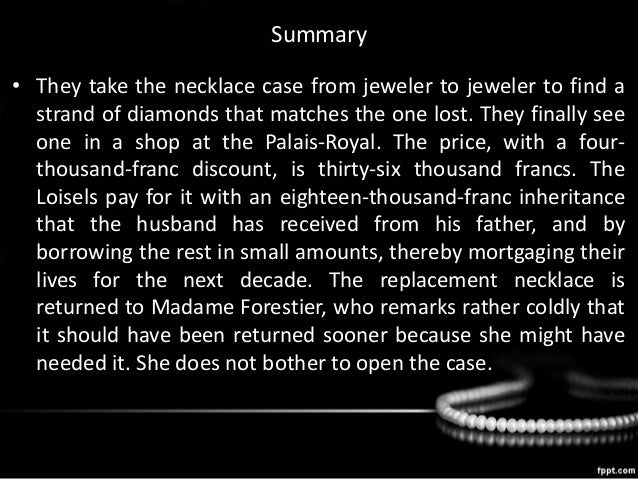 summary on the necklace by guy de maupassant