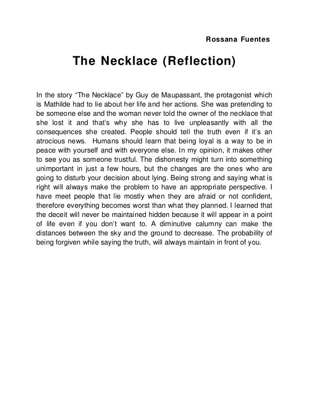 "the necklace reflection  rossana fuentes the necklace reflection in the story ""the necklace"" by guy"