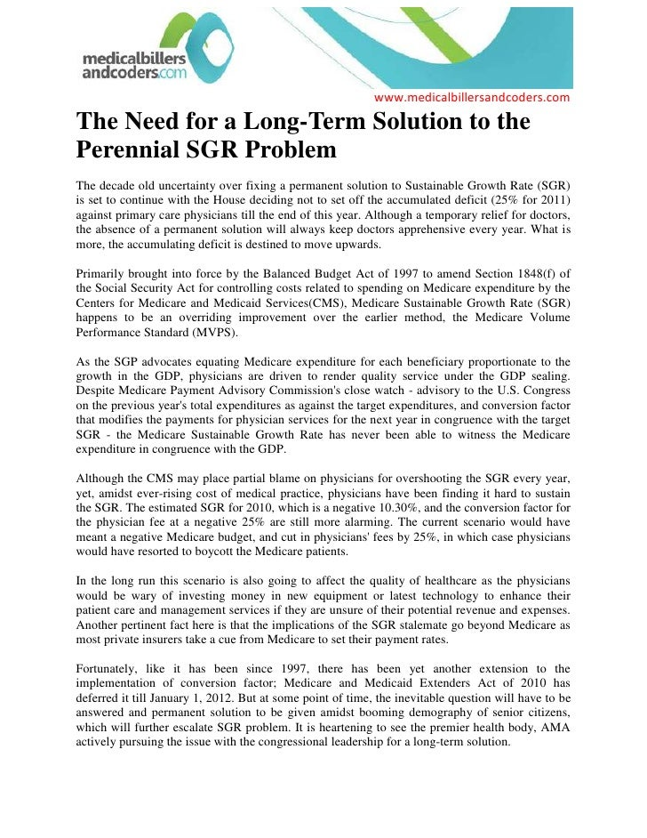 The Need for a Long-Term Solution to the Perennial SGR Problem<br />The decade old uncertainty over fixing a permanent sol...