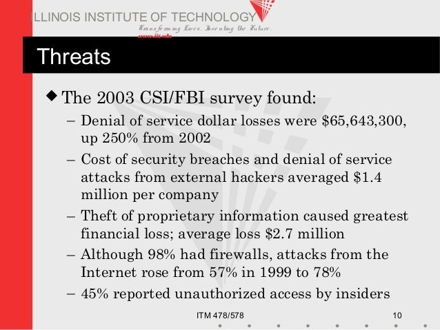 Transfo rm ing Live s. Inve nting the Future . www.iit.edu ITM 478/578 10 ILLINOIS INSTITUTE OF TECHNOLOGY Threats  The 2...