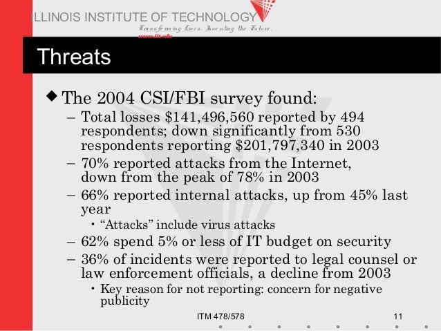 Transfo rm ing Live s. Inve nting the Future . www.iit.edu ITM 478/578 11 ILLINOIS INSTITUTE OF TECHNOLOGY Threats  The 2...