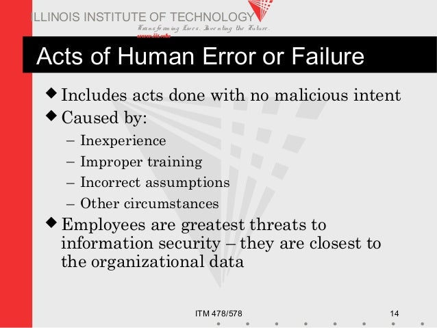 Transfo rm ing Live s. Inve nting the Future . www.iit.edu ITM 478/578 14 ILLINOIS INSTITUTE OF TECHNOLOGY Acts of Human E...