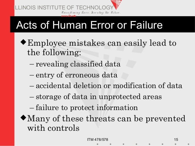 Transfo rm ing Live s. Inve nting the Future . www.iit.edu ITM 478/578 15 ILLINOIS INSTITUTE OF TECHNOLOGY Acts of Human E...