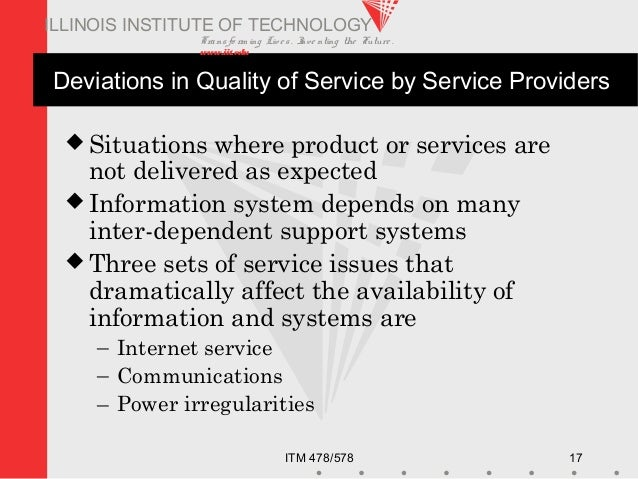 Transfo rm ing Live s. Inve nting the Future . www.iit.edu ITM 478/578 17 ILLINOIS INSTITUTE OF TECHNOLOGY Deviations in Q...