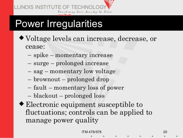 Transfo rm ing Live s. Inve nting the Future . www.iit.edu ITM 478/578 20 ILLINOIS INSTITUTE OF TECHNOLOGY Power Irregular...