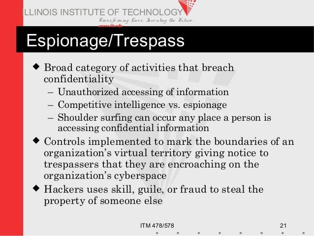 Transfo rm ing Live s. Inve nting the Future . www.iit.edu ITM 478/578 21 ILLINOIS INSTITUTE OF TECHNOLOGY Espionage/Tresp...