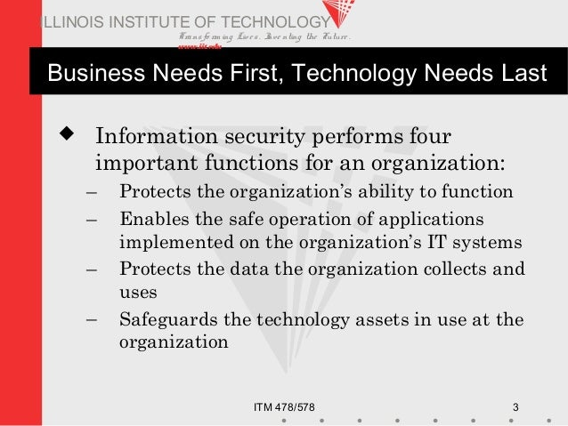 Transfo rm ing Live s. Inve nting the Future . www.iit.edu ITM 478/578 3 ILLINOIS INSTITUTE OF TECHNOLOGY Business Needs F...
