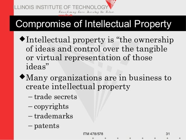 Transfo rm ing Live s. Inve nting the Future . www.iit.edu ITM 478/578 31 ILLINOIS INSTITUTE OF TECHNOLOGY Compromise of I...
