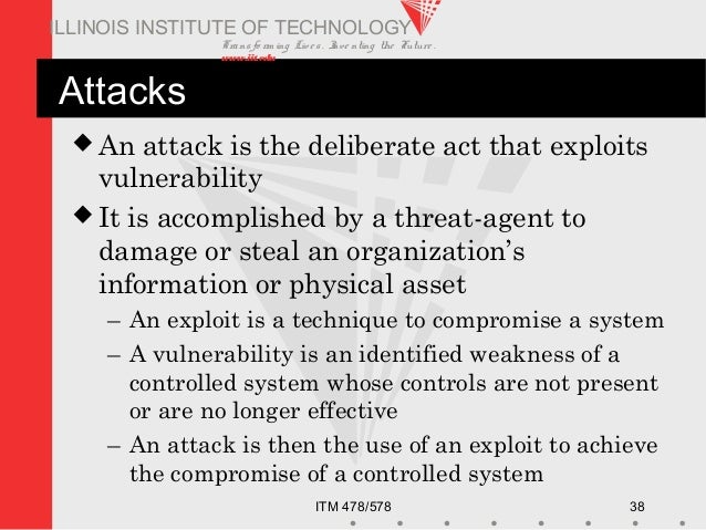Transfo rm ing Live s. Inve nting the Future . www.iit.edu ITM 478/578 38 ILLINOIS INSTITUTE OF TECHNOLOGY Attacks  An at...