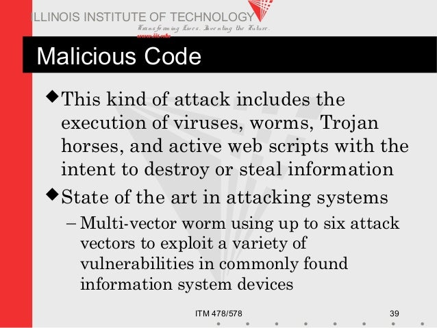 Transfo rm ing Live s. Inve nting the Future . www.iit.edu ITM 478/578 39 ILLINOIS INSTITUTE OF TECHNOLOGY Malicious Code ...