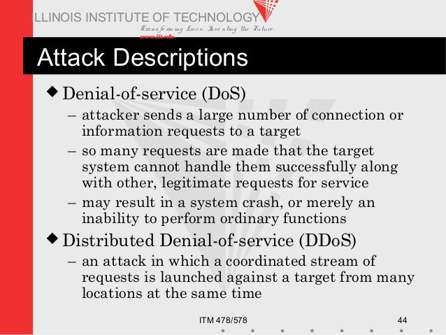 Transfo rm ing Live s. Inve nting the Future . www.iit.edu ITM 478/578 44 ILLINOIS INSTITUTE OF TECHNOLOGY Attack Descript...