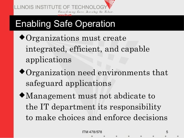 Transfo rm ing Live s. Inve nting the Future . www.iit.edu ITM 478/578 5 ILLINOIS INSTITUTE OF TECHNOLOGY Enabling Safe Op...