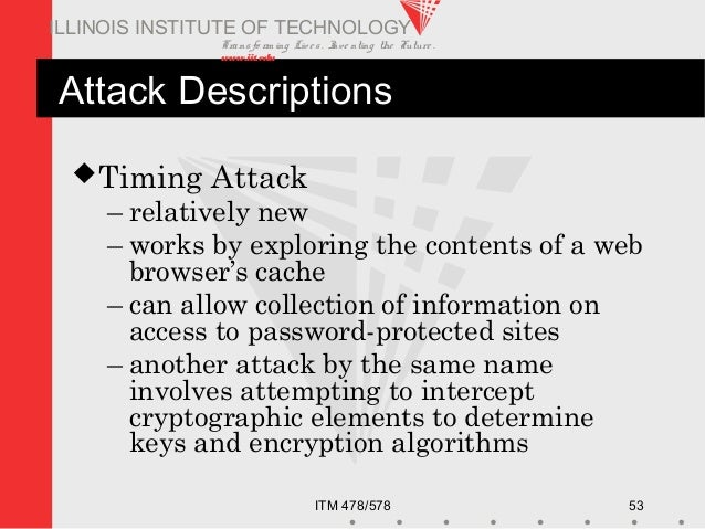 Transfo rm ing Live s. Inve nting the Future . www.iit.edu ITM 478/578 53 ILLINOIS INSTITUTE OF TECHNOLOGY Attack Descript...