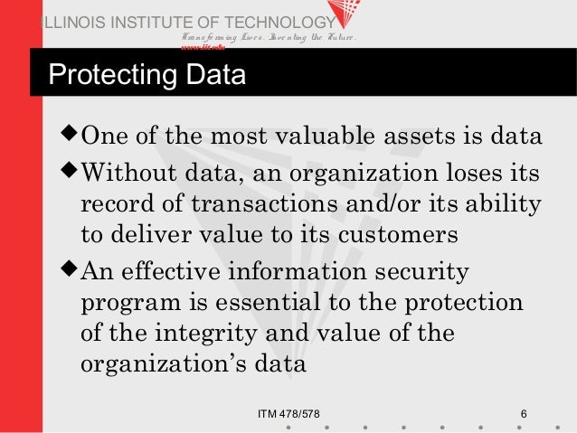 Transfo rm ing Live s. Inve nting the Future . www.iit.edu ITM 478/578 6 ILLINOIS INSTITUTE OF TECHNOLOGY Protecting Data ...