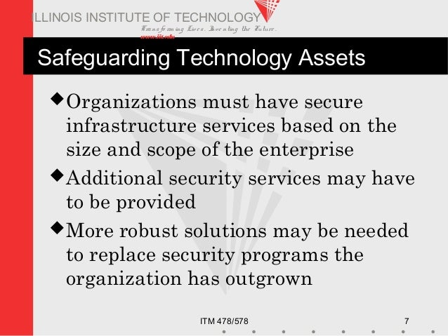 Transfo rm ing Live s. Inve nting the Future . www.iit.edu ITM 478/578 7 ILLINOIS INSTITUTE OF TECHNOLOGY Safeguarding Tec...