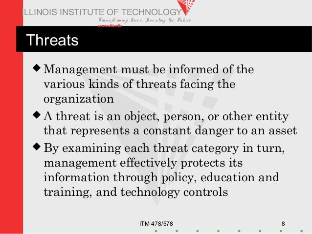 Transfo rm ing Live s. Inve nting the Future . www.iit.edu ITM 478/578 8 ILLINOIS INSTITUTE OF TECHNOLOGY Threats  Manage...