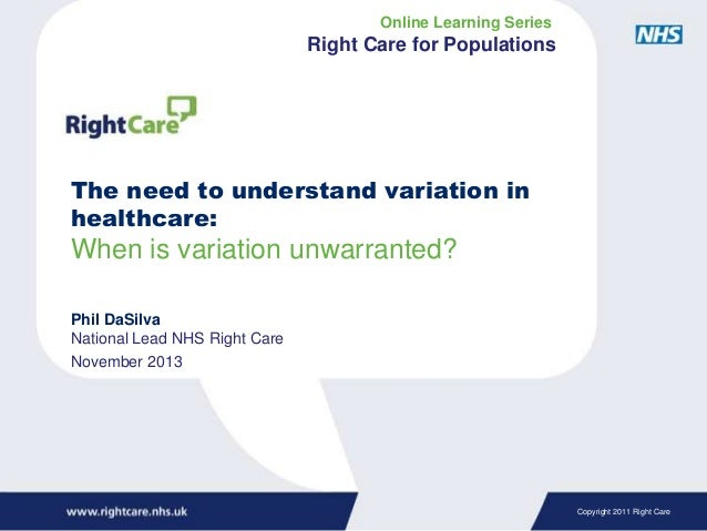 Online Learning Series  Right Care for Populations  The need to understand variation in healthcare:  When is variation unw...