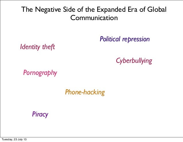 The Negative Side of the Expanded Era of Global Communication Identity theft Cyberbullying Phone-hacking Pornography Pirac...
