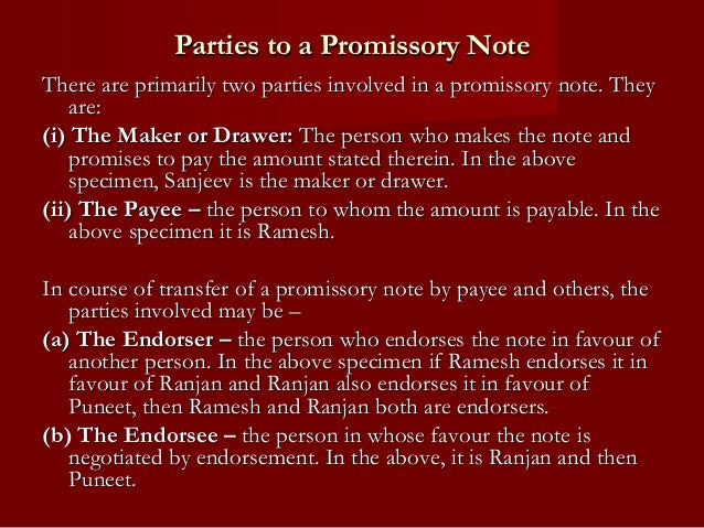 The negotiable instruments act – Promissory Note Parties