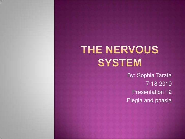 The nervous system<br />By: Sophia Tarafa<br />7-18-2010<br />Presentation 12<br />Plegia and phasia<br />