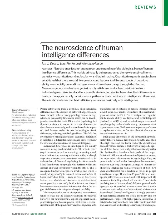 REVIEWS                                   The neuroscience of human                                   intelligence differe...