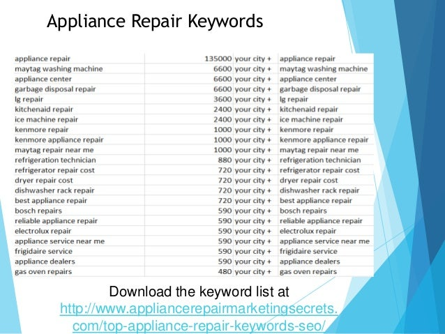 The New 2018 Appliance Repair Search Engine Optimization Formula
