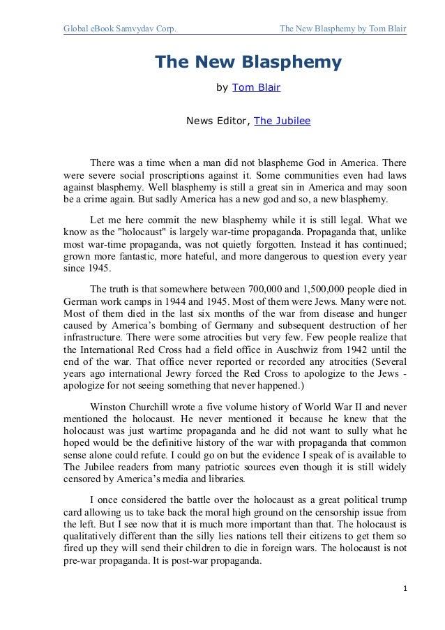 Global eBook Samvydav Corp. The New Blasphemy by Tom BlairThe New Blasphemyby Tom BlairNews Editor, The JubileeThere was a...