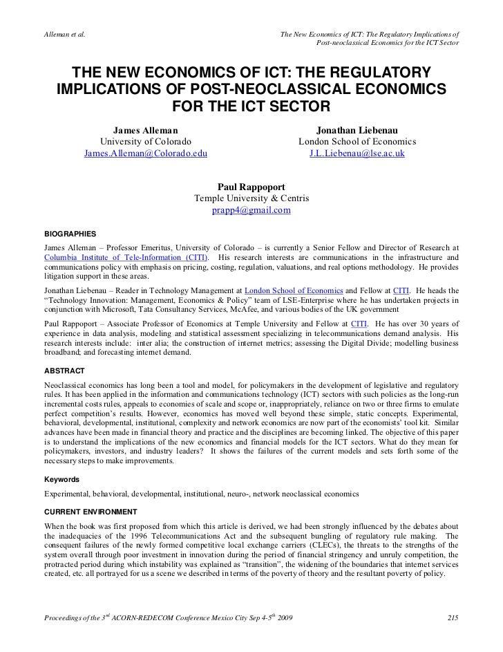 Alleman et al.                                                          The New Economics of ICT: The Regulatory Implicati...