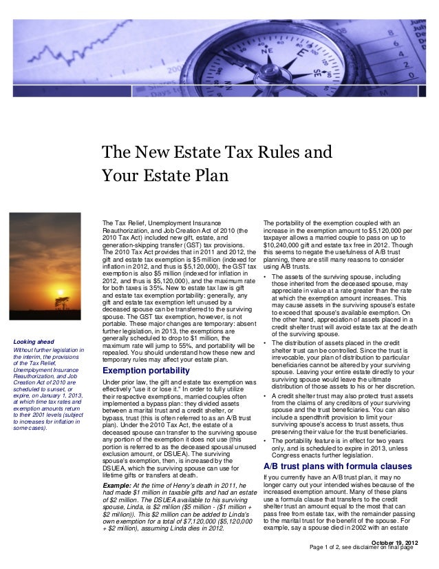 The New Estate Tax Rules and                                 Your Estate Plan                                 The Tax Reli...