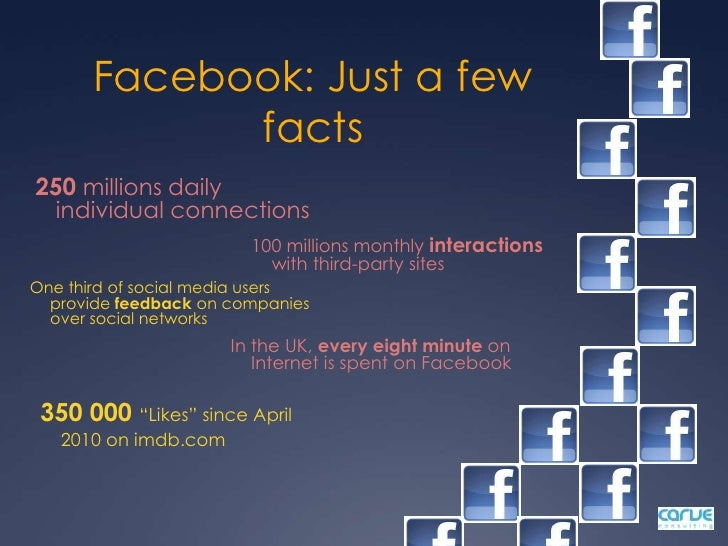 Facebook: Just a few facts<br />250 millions daily individual connections<br />100 millions monthly interactions with thir...