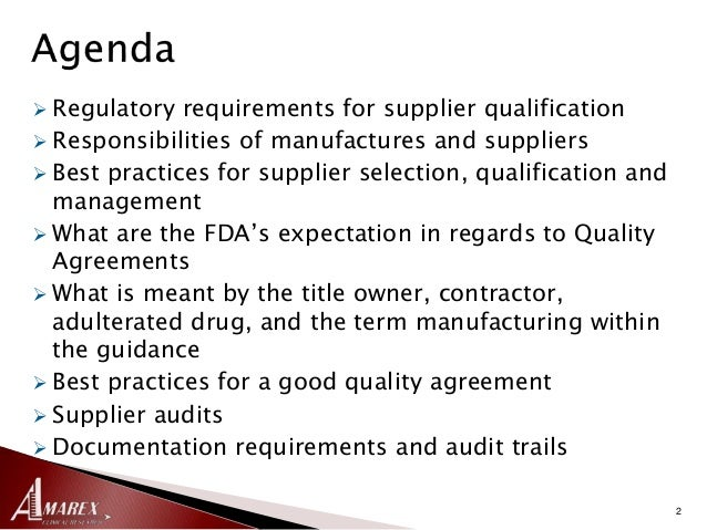 The New Fda Guidance On Quality Agreements And Effective Management O